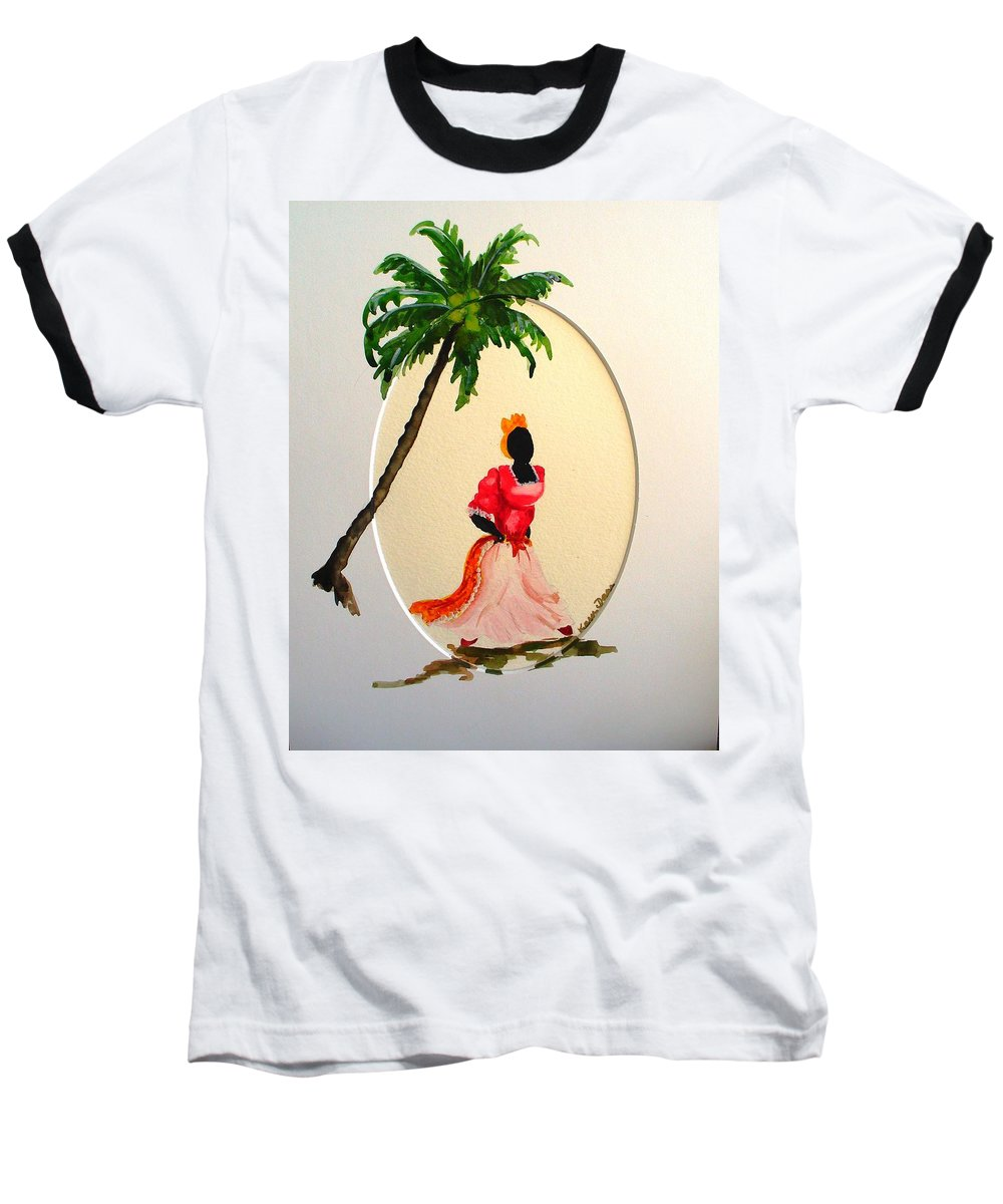 Caribbean Dancer Baseball T-Shirt featuring the painting Dancer 1 by Karin Dawn Kelshall- Best