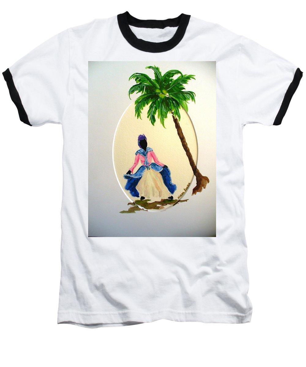 Dancer Caribbean Baseball T-Shirt featuring the painting Dancer 2 by Karin Dawn Kelshall- Best