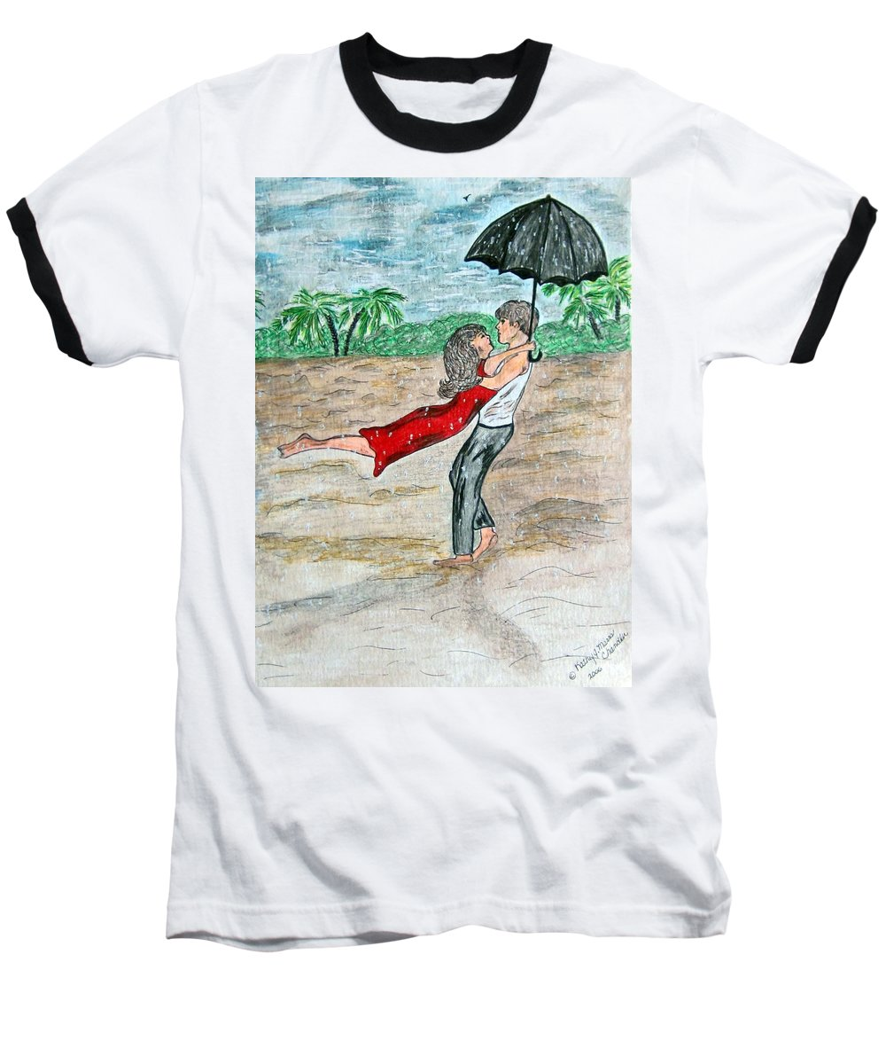 Dancing Baseball T-Shirt featuring the painting Dancing In The Rain On The Beach by Kathy Marrs Chandler