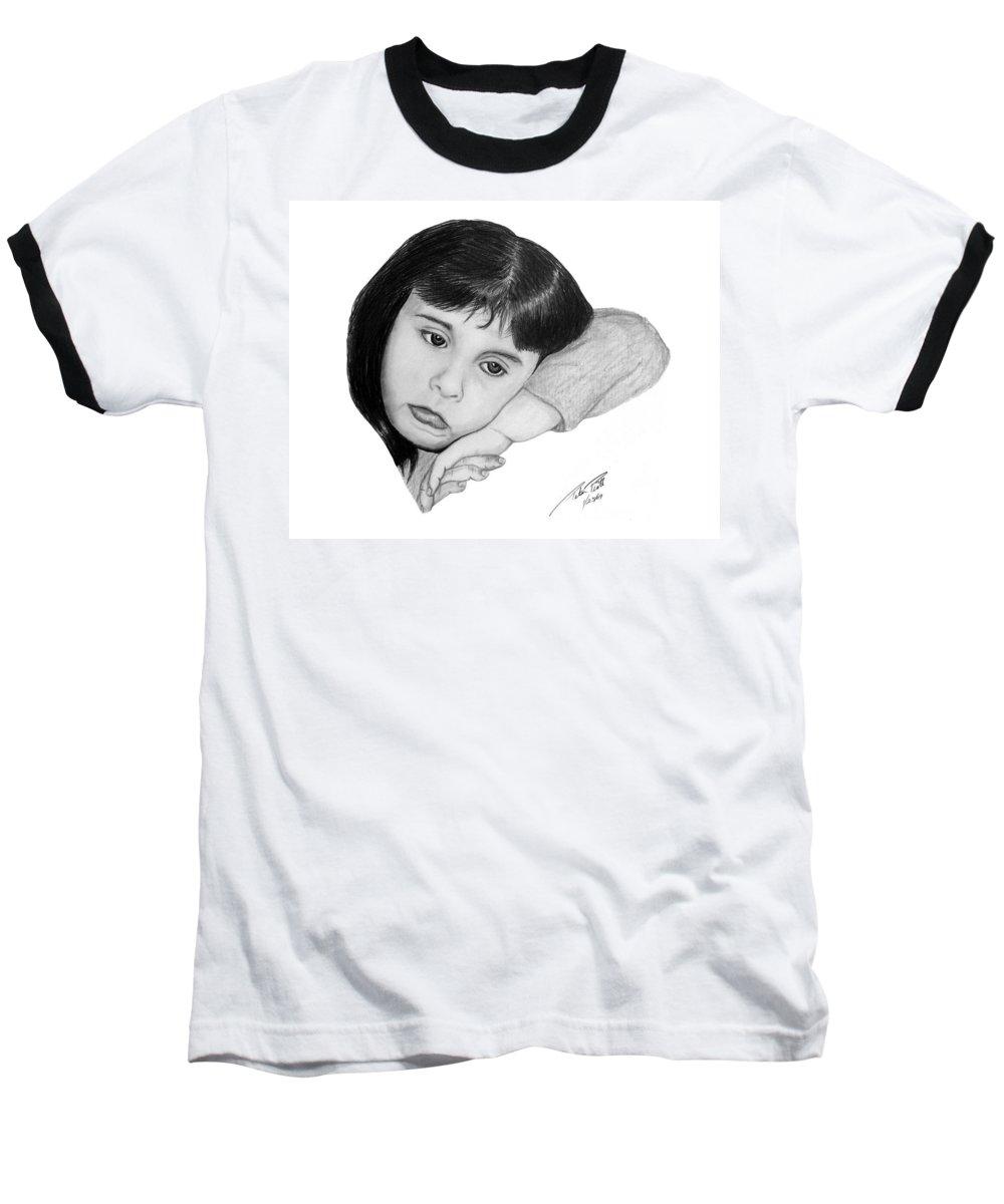 Portrait Sketch Baseball T-Shirt featuring the drawing Dannie by Peter Piatt