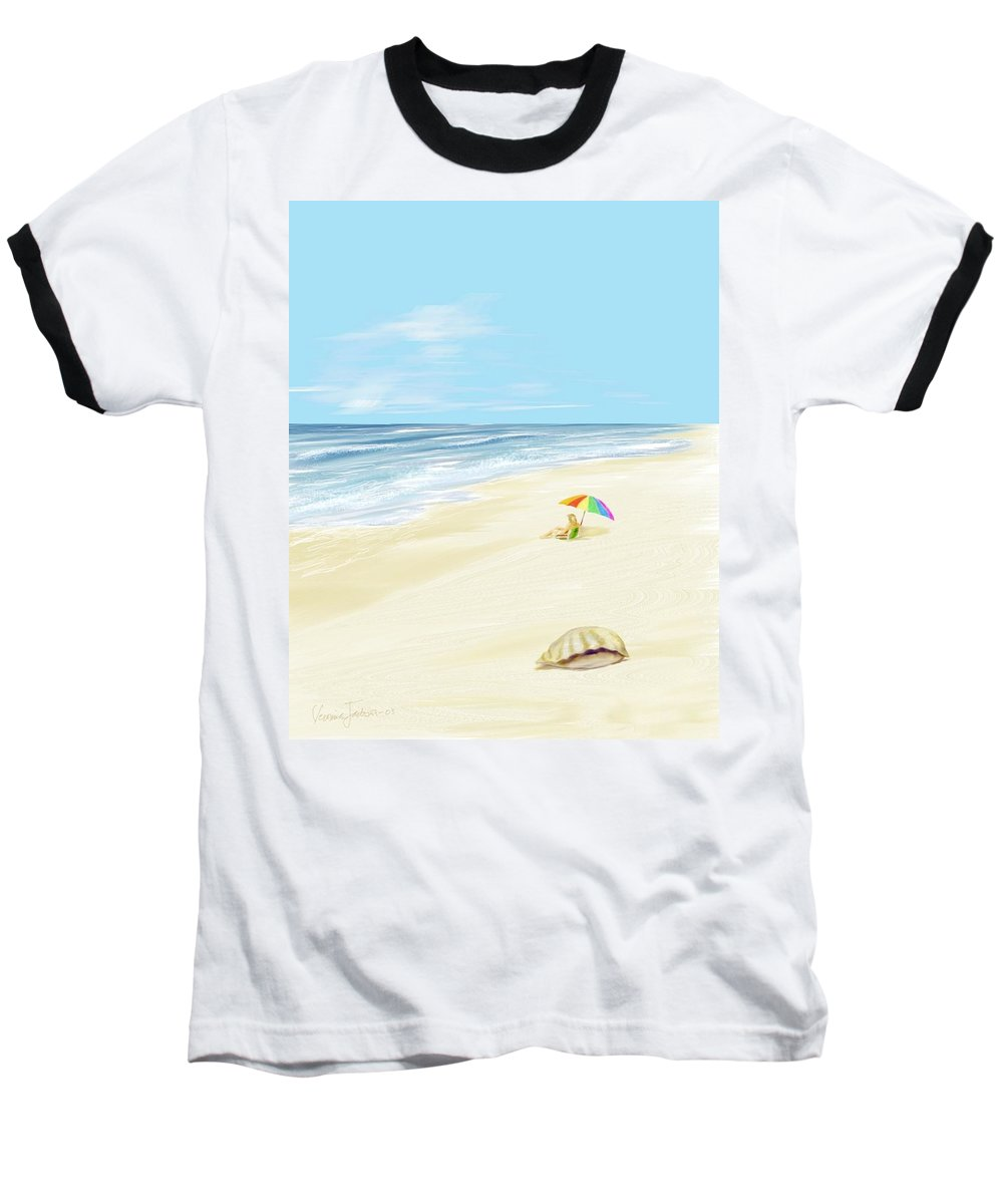 Beach Summer Sun Sand Waves Shells Baseball T-Shirt featuring the digital art Day At The Beach by Veronica Jackson