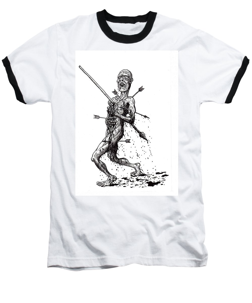 Dark Baseball T-Shirt featuring the drawing Death March by Tobey Anderson