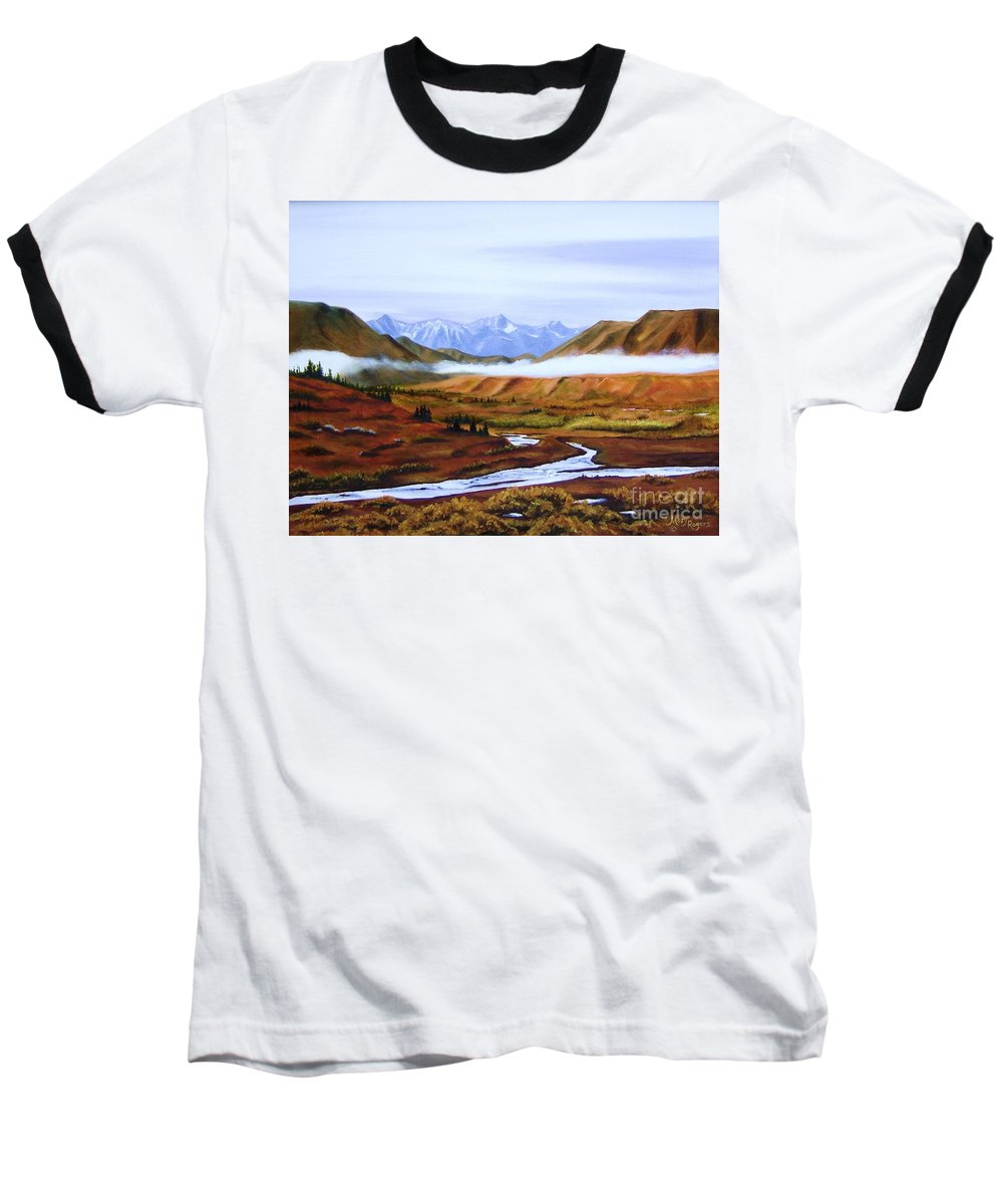Art Baseball T-Shirt featuring the painting Denali Autumn by Mary Rogers