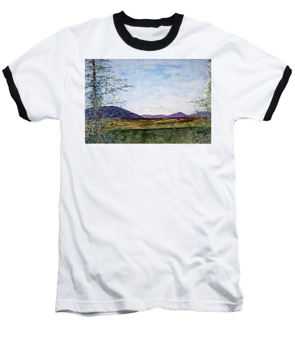 Alaska Art Baseball T-Shirt featuring the painting Denali In July by Larry Wright