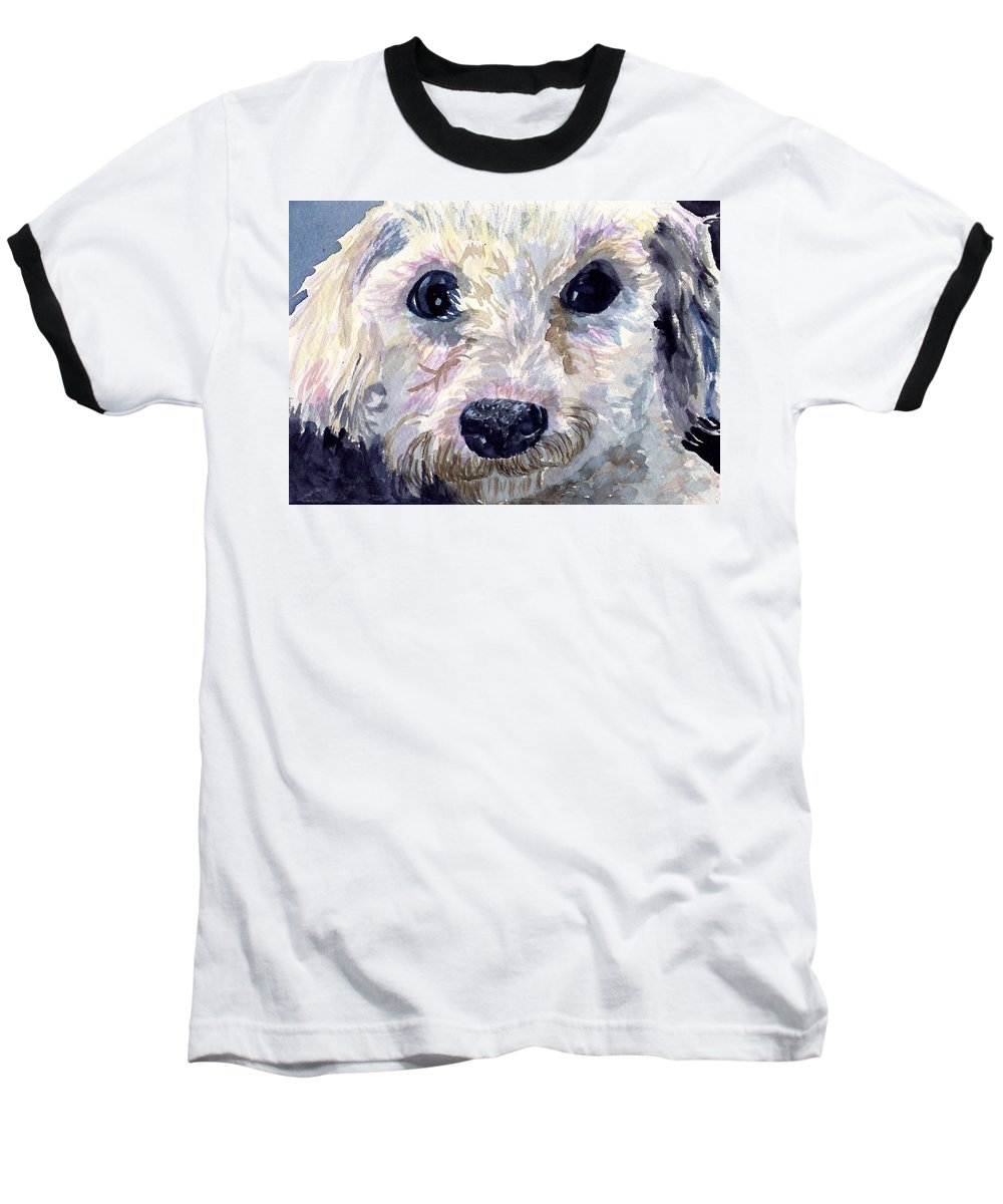 Bichon Frise Baseball T-Shirt featuring the painting Did You Say Lunch by Sharon E Allen