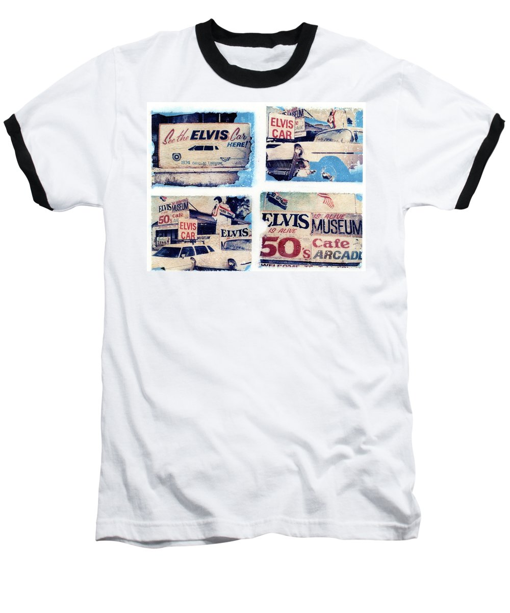 Elvis Baseball T-Shirt featuring the photograph Disgraceland by Jane Linders