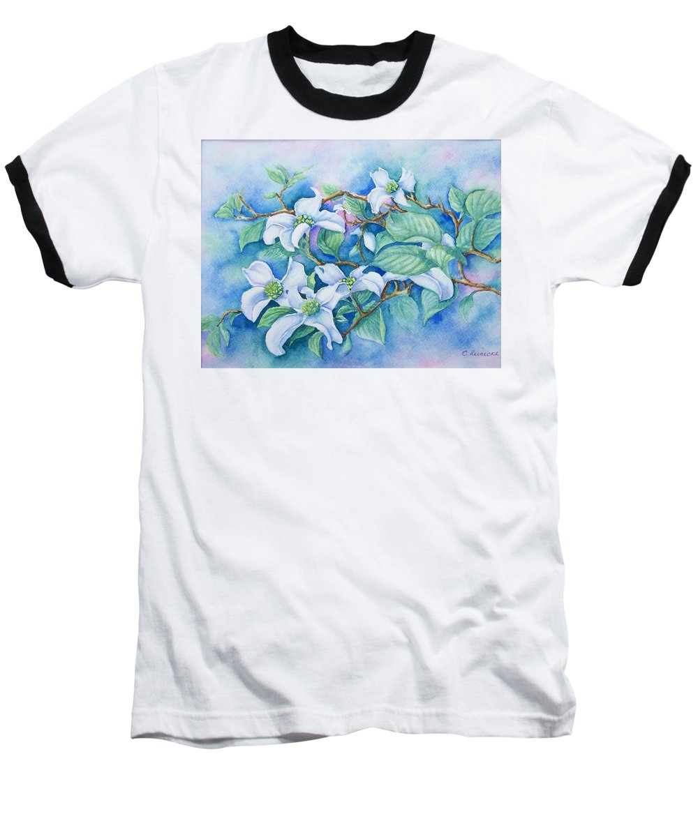 Floral Baseball T-Shirt featuring the painting Dogwood by Conni Reinecke