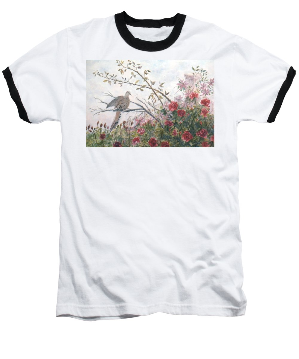 Dove; Roses Baseball T-Shirt featuring the painting Dove And Roses by Ben Kiger