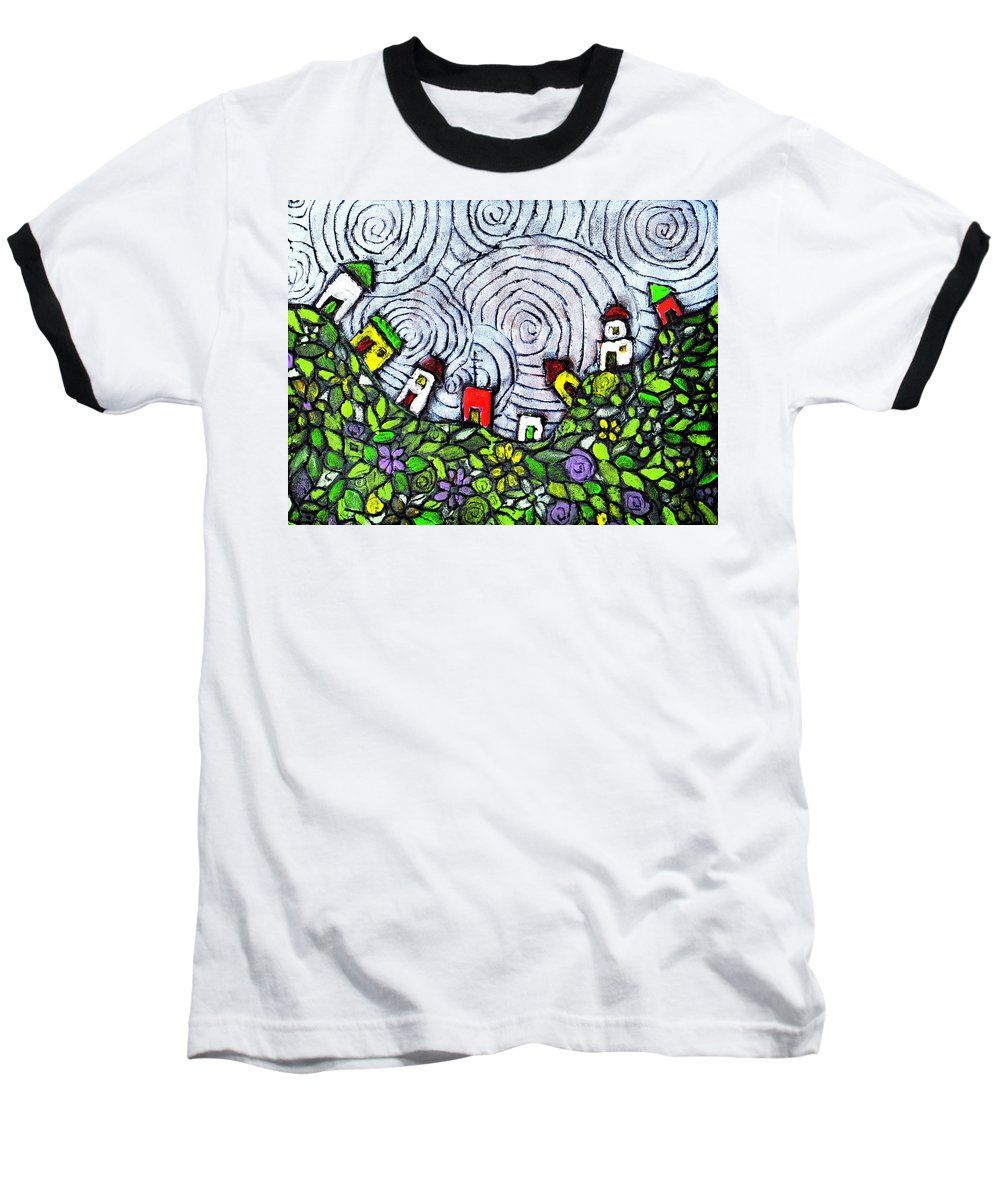 Folk Art Baseball T-Shirt featuring the painting Down In The Valley by Wayne Potrafka