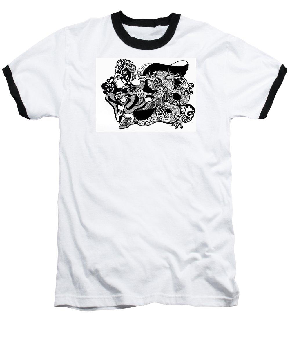 Fantasy Baseball T-Shirt featuring the drawing Dragon Lady by Yelena Tylkina