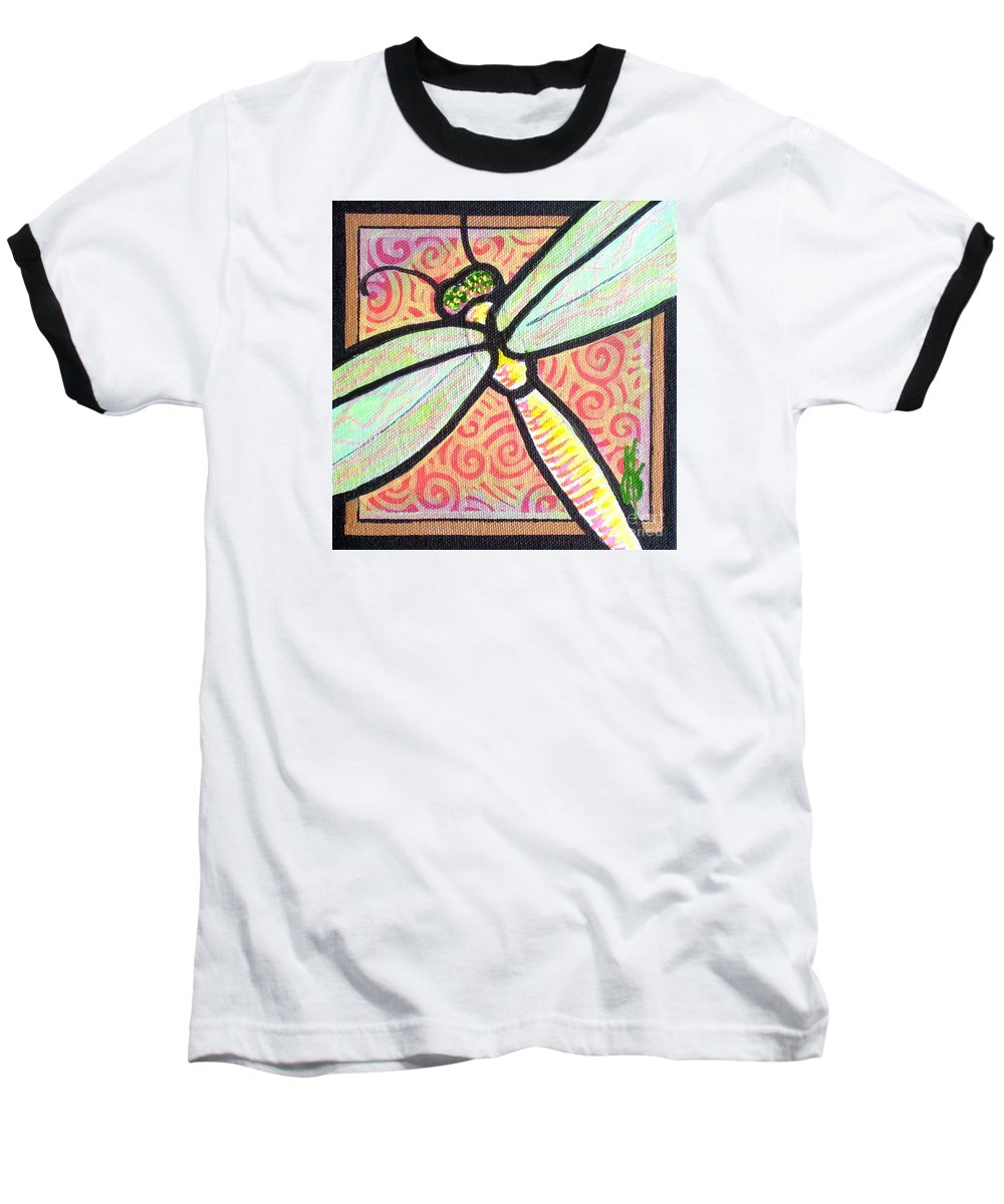 Dragonfly Baseball T-Shirt featuring the painting Dragonfly Fantasy 3 by Jim Harris