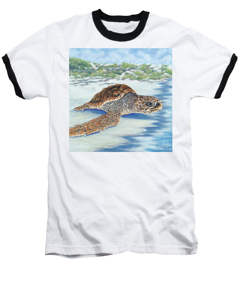 Sea Turtle Baseball T-Shirt featuring the painting Dreaming Of Islands by Danielle Perry