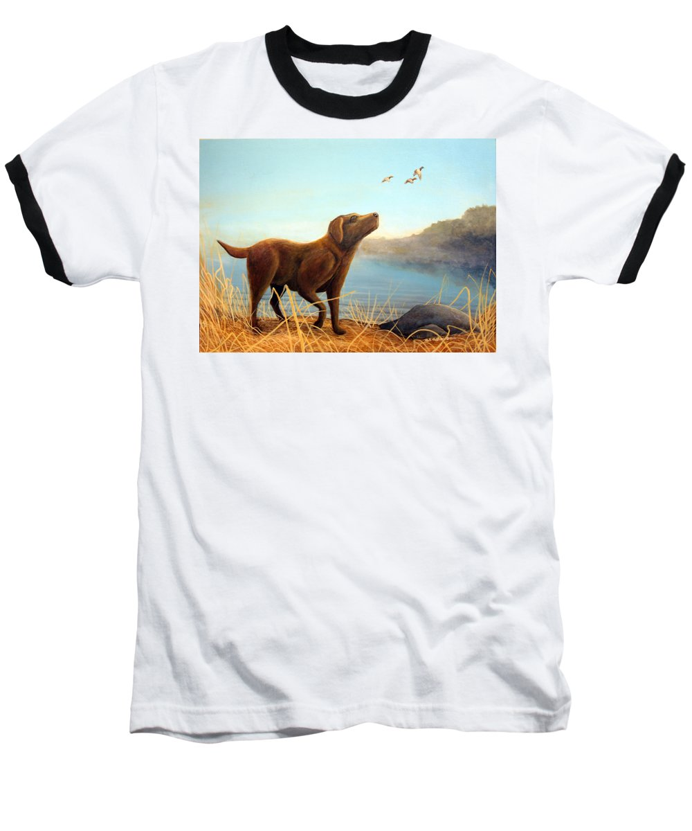 Chocolate Lab Painting Baseball T-Shirt featuring the Dutch by Rick Huotari