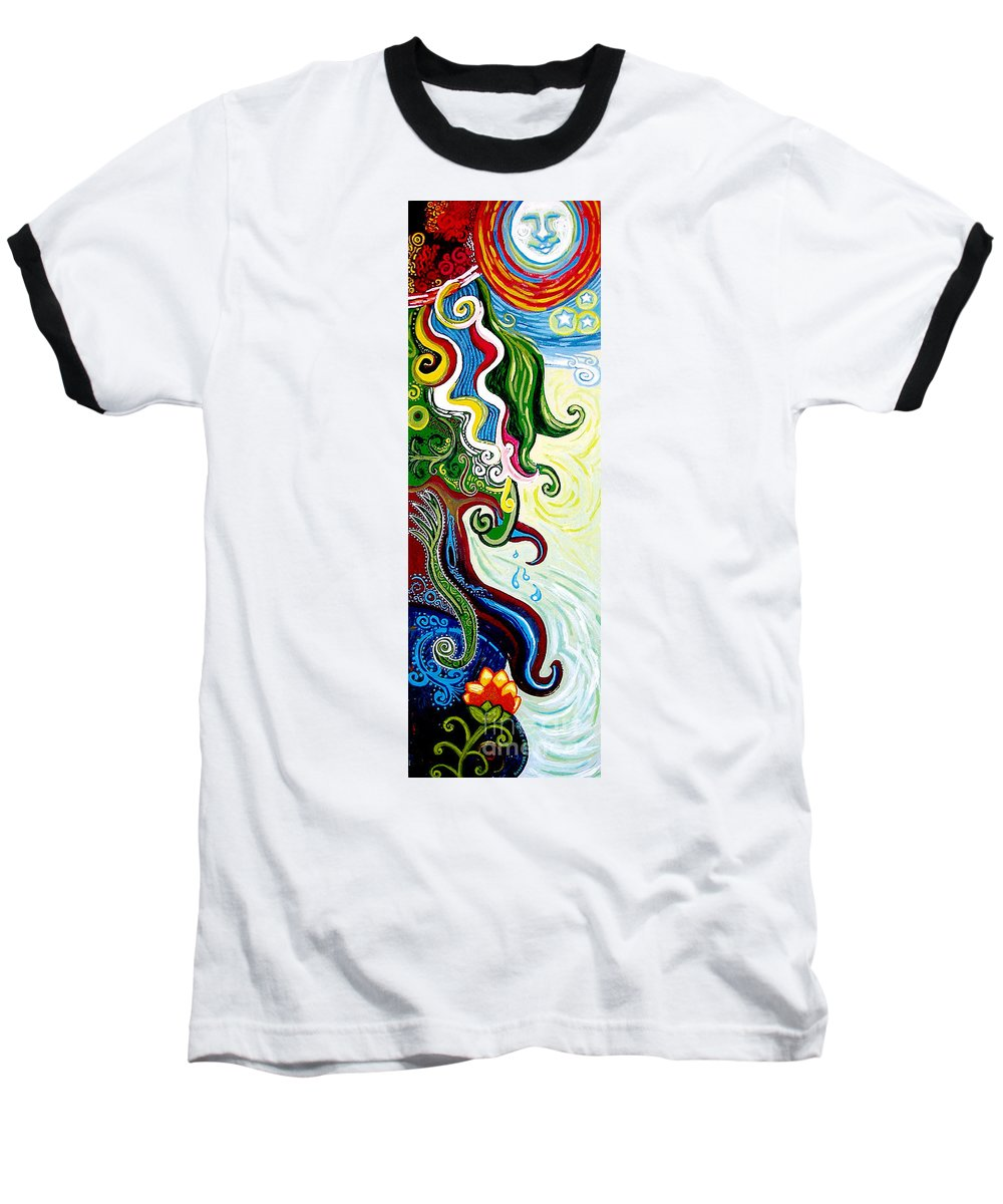 Mother Earth Baseball T-Shirt featuring the painting Earths Tears by Genevieve Esson