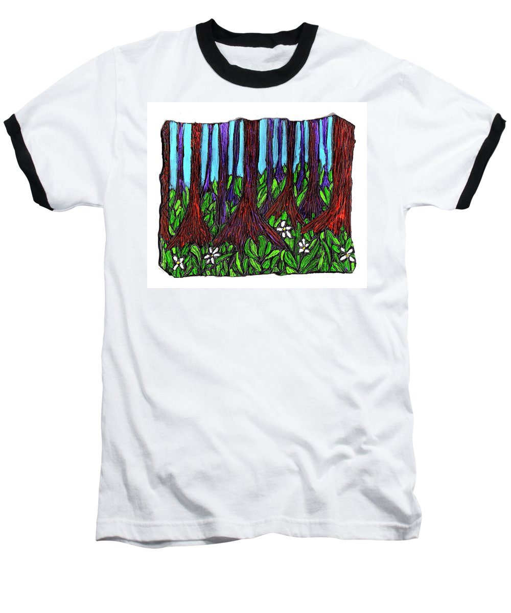 Trees Baseball T-Shirt featuring the painting Edge Of The Swamp by Wayne Potrafka