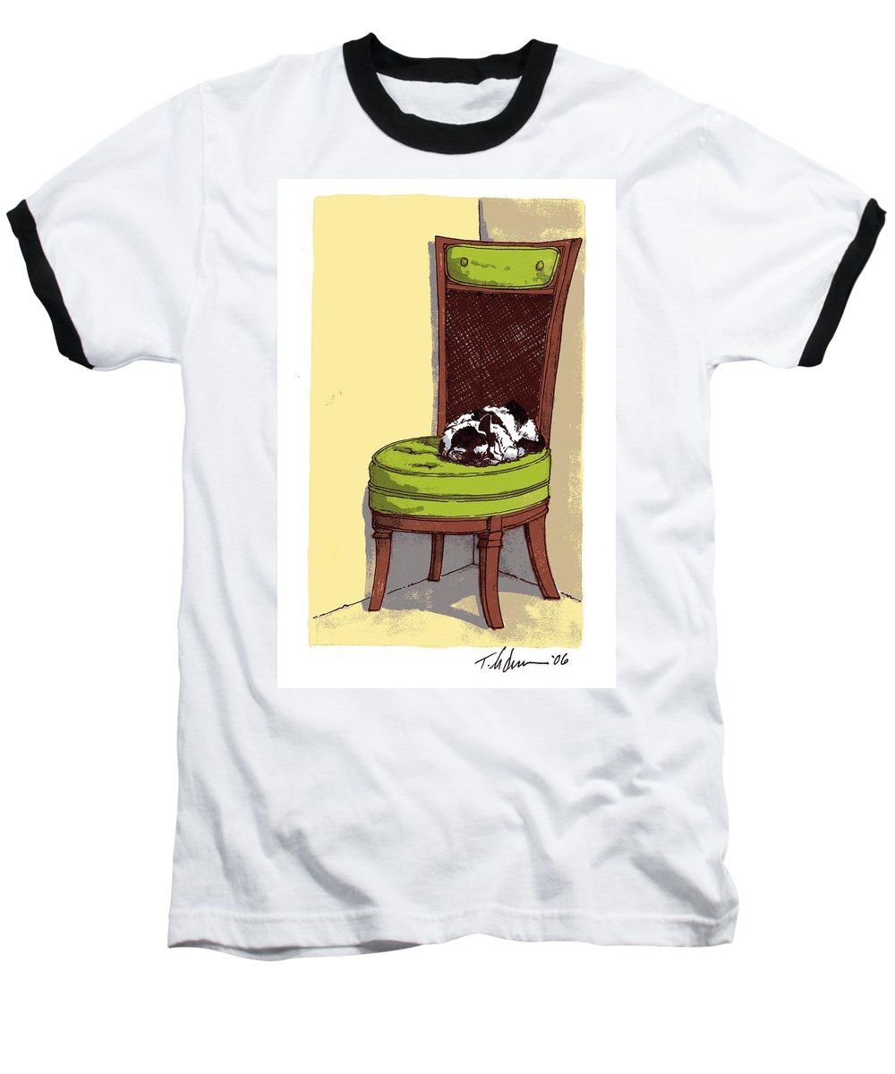 Cat Baseball T-Shirt featuring the drawing Ernie And Green Chair by Tobey Anderson
