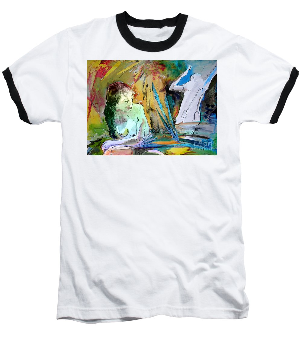 Miki Baseball T-Shirt featuring the painting Eroscape 15 1 by Miki De Goodaboom