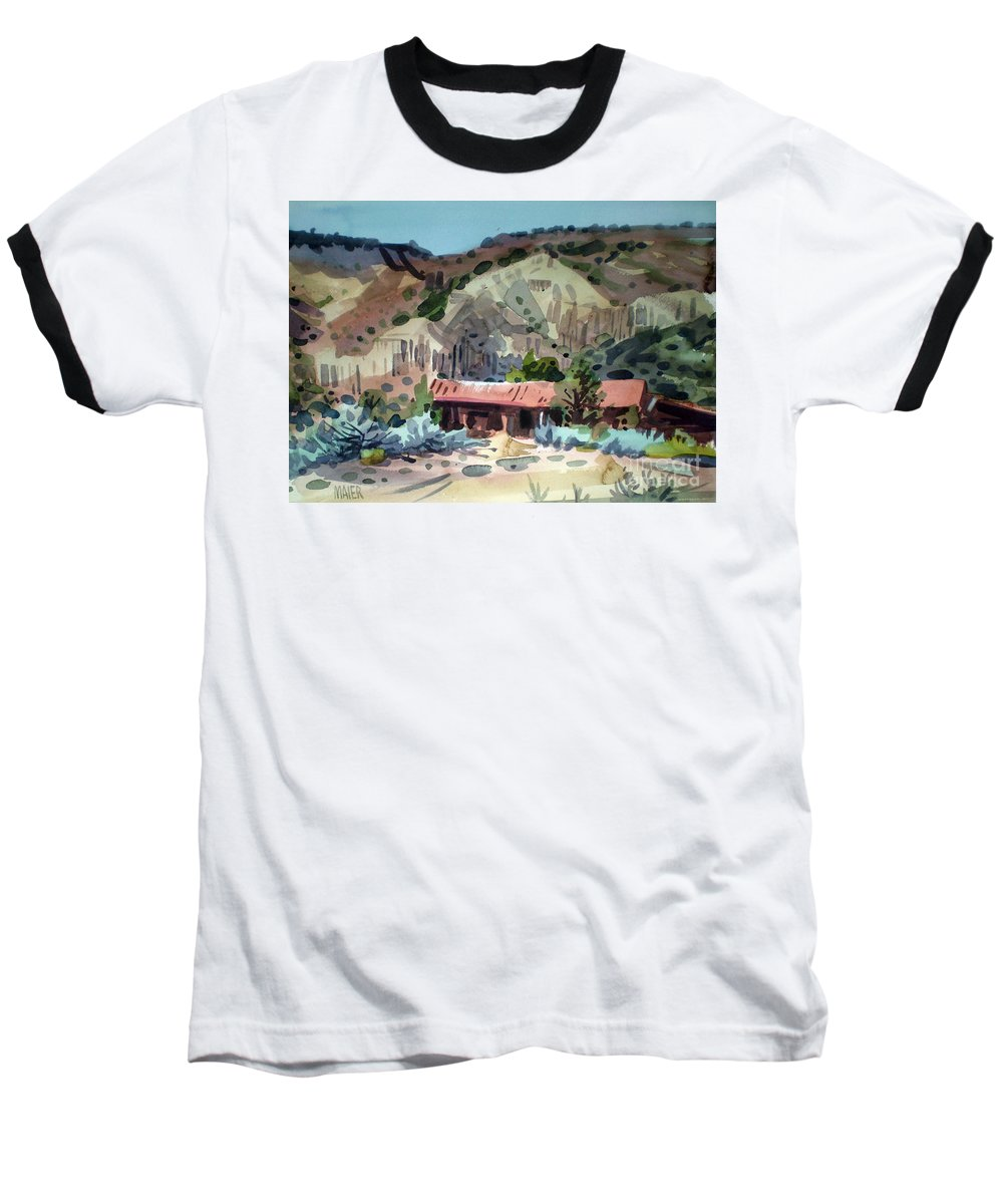 New Mexico Baseball T-Shirt featuring the painting Espanola On The Rio Grande by Donald Maier