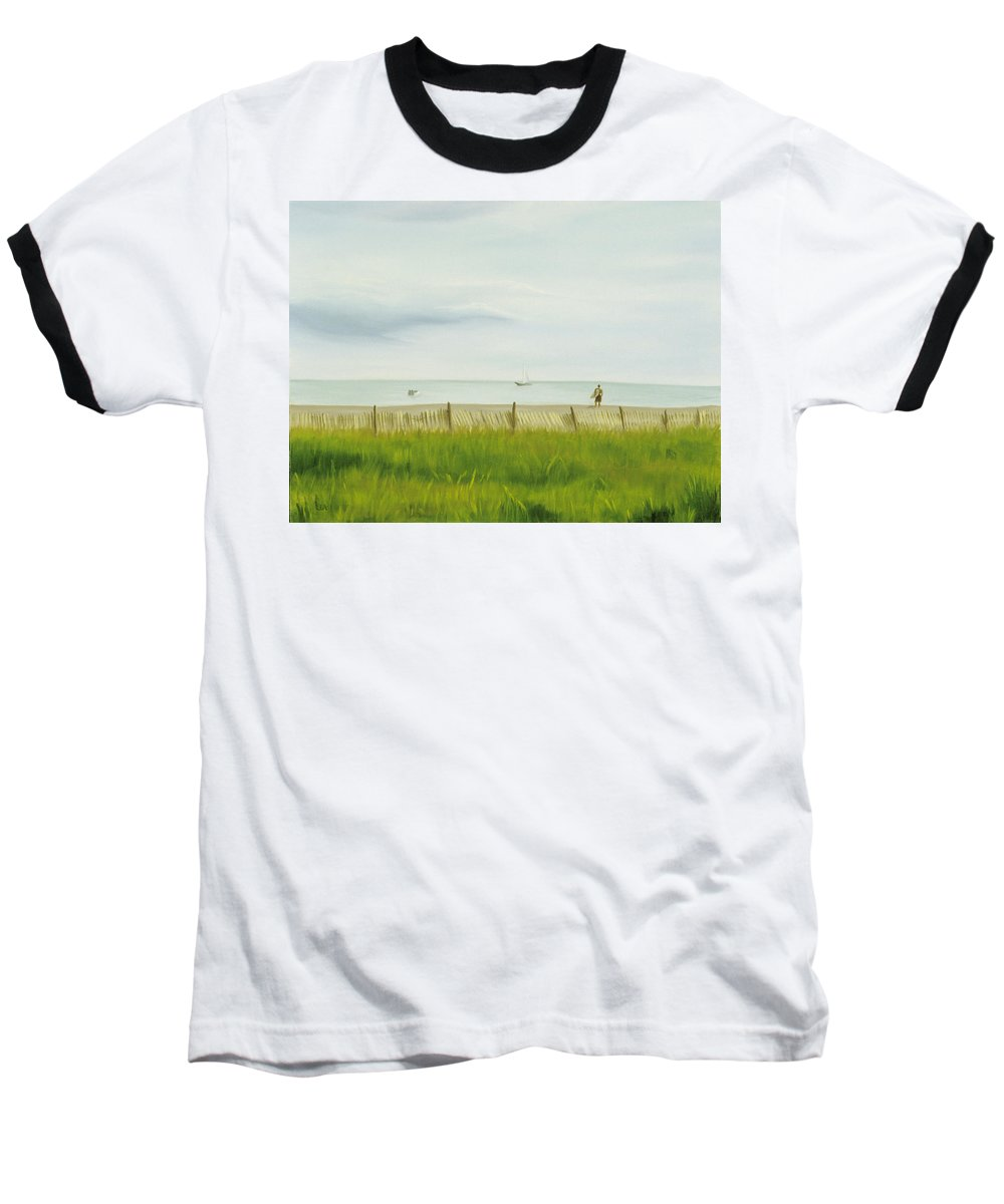 Seascape Baseball T-Shirt featuring the painting Evening At Cape May by Lea Novak