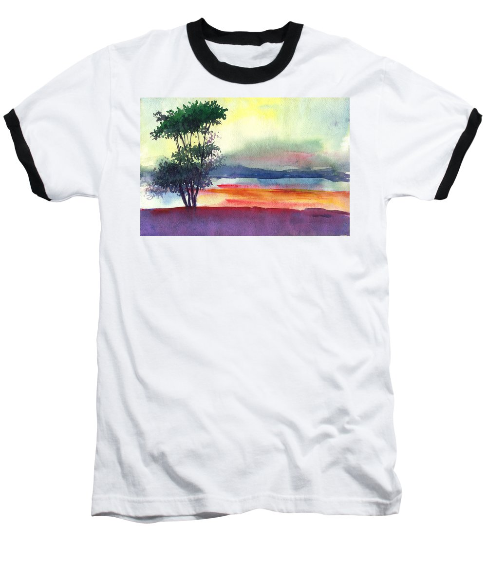 Water Color Baseball T-Shirt featuring the painting Evening Lights by Anil Nene