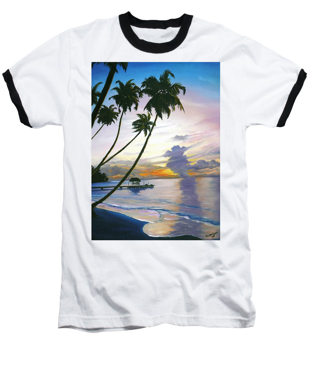 Ocean Painting Seascape Painting Beach Painting Sunset Painting Tropical Painting Tropical Painting Palm Tree Painting Tobago Painting Caribbean Painting Original Oil Of The Sun Setting Over Pigeon Point Tobago Baseball T-Shirt featuring the painting Eventide Tobago by Karin Dawn Kelshall- Best