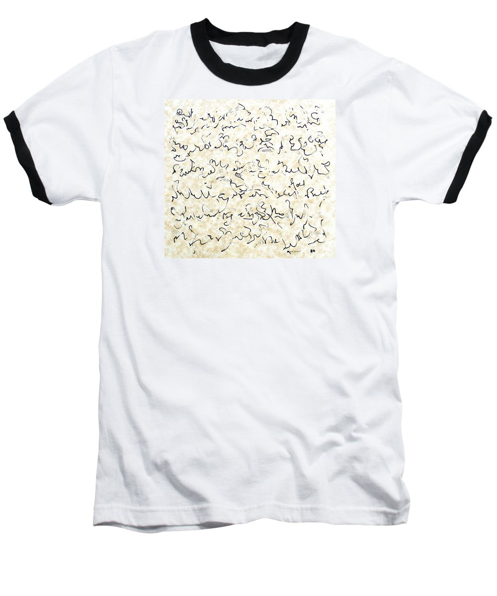 Calligraphy Baseball T-Shirt featuring the drawing Executive Summary With Notes by Dave Martsolf