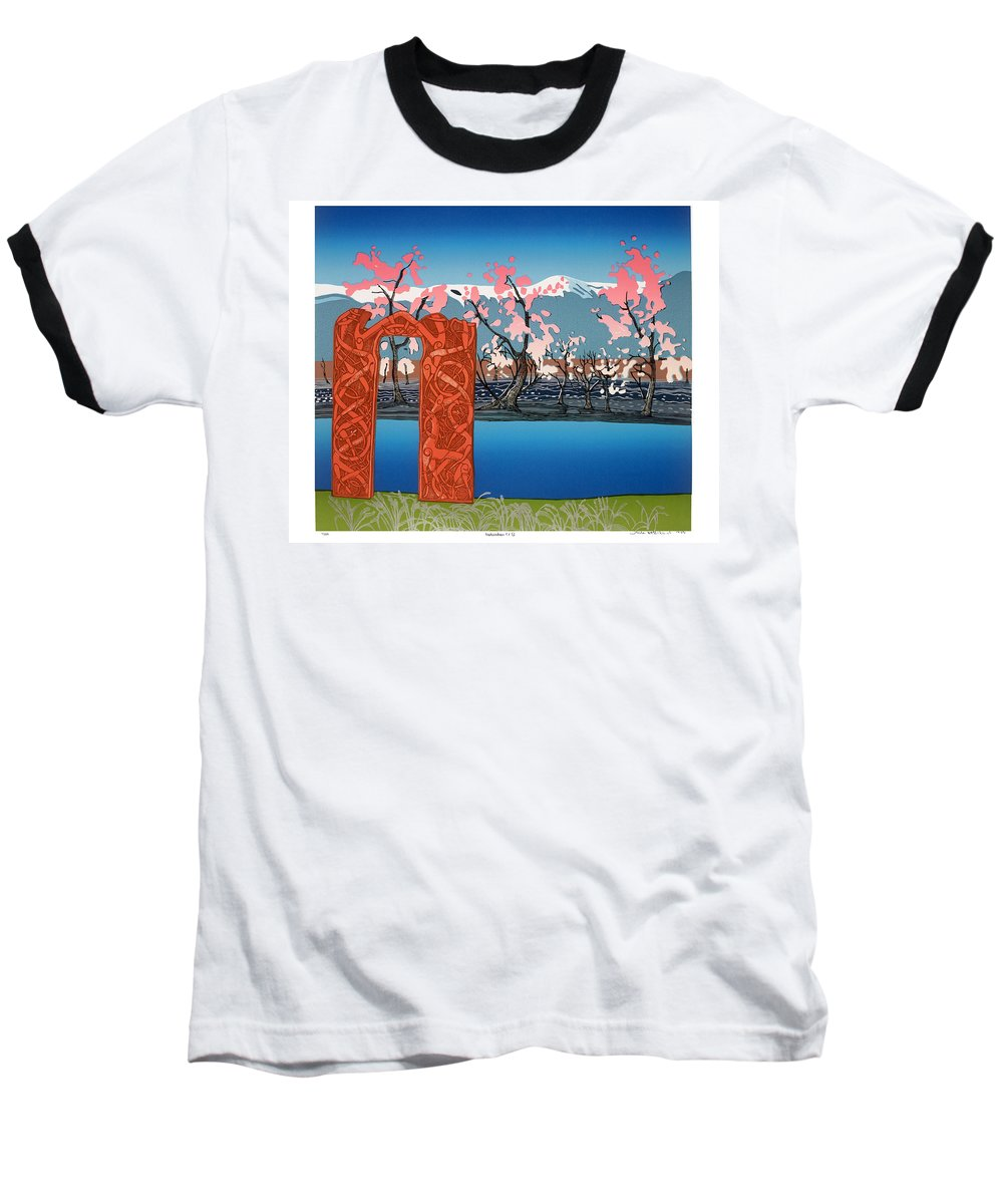 Landscape Baseball T-Shirt featuring the mixed media Exploration. by Jarle Rosseland