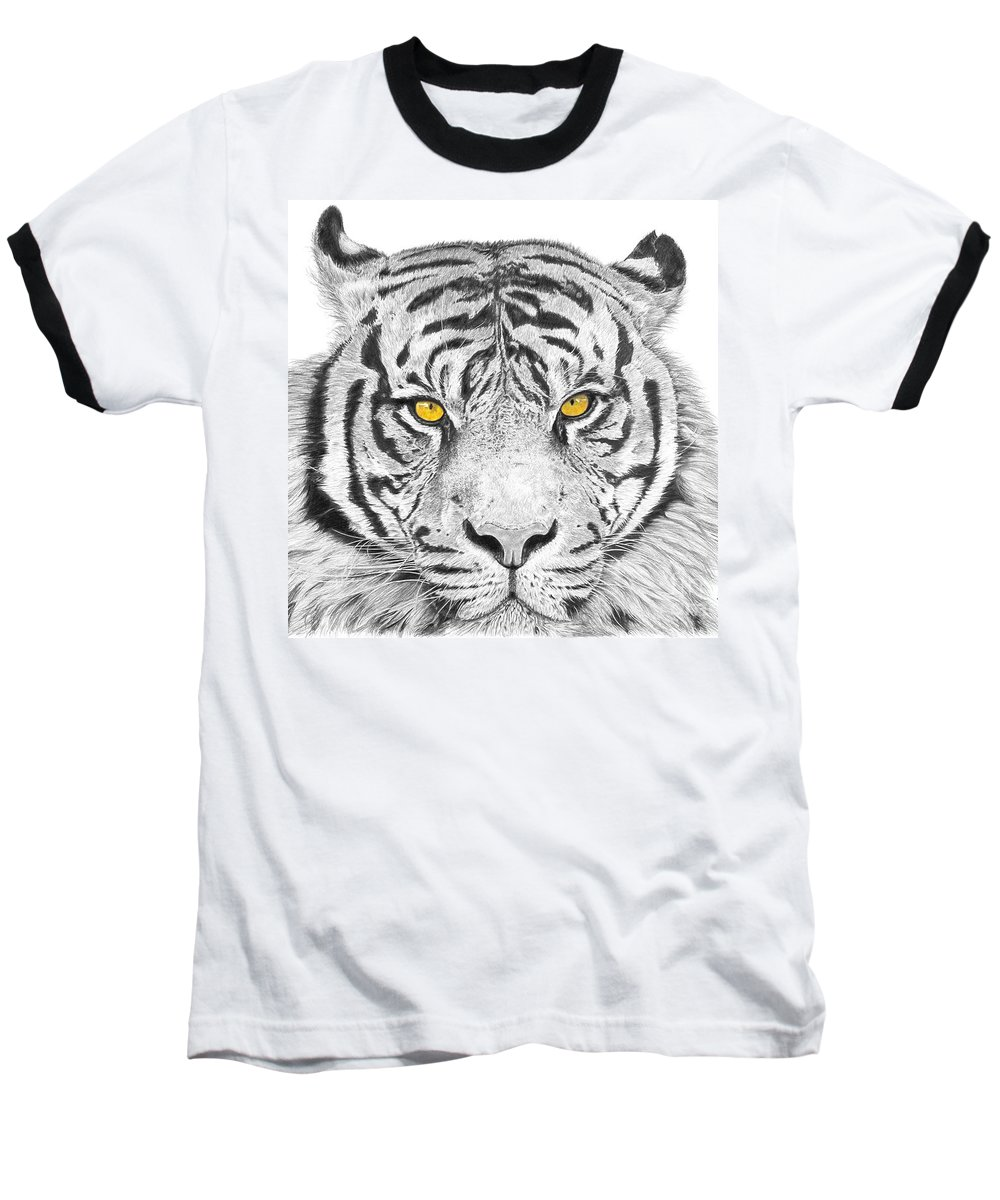 Tiger Baseball T-Shirt featuring the drawing Eyes Of The Tiger by Shawn Stallings