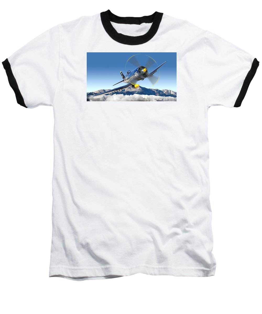 F4-u Corsair Baseball T-Shirt featuring the photograph F4-u Corsair by Larry McManus