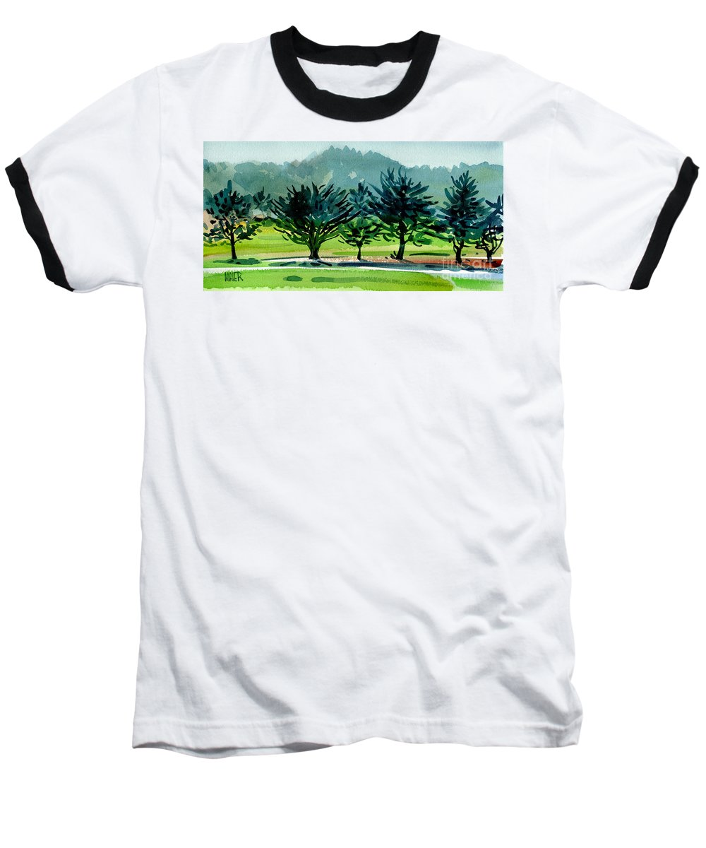 Crystal Springs Baseball T-Shirt featuring the painting Fairway Junipers by Donald Maier