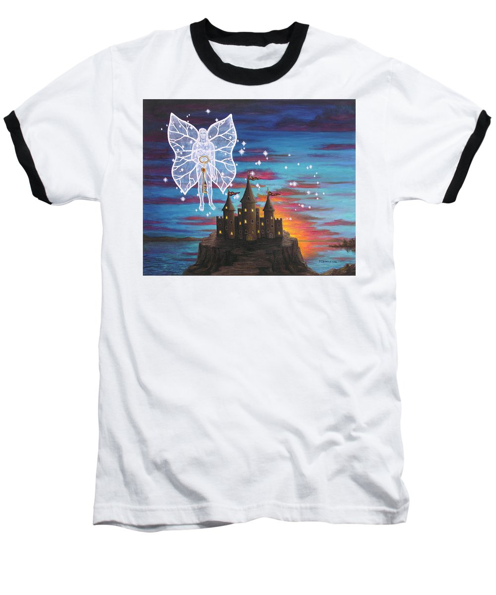 Fantasy Baseball T-Shirt featuring the painting Fairy Takes The Key by Roz Eve