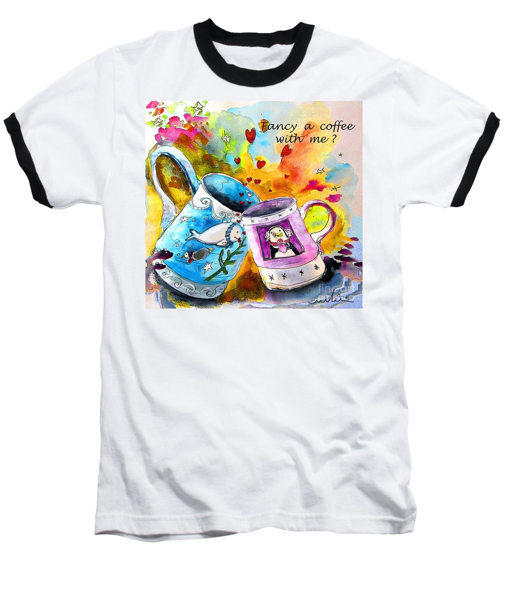 Cafe Crem Baseball T-Shirt featuring the painting Fancy A Coffee by Miki De Goodaboom