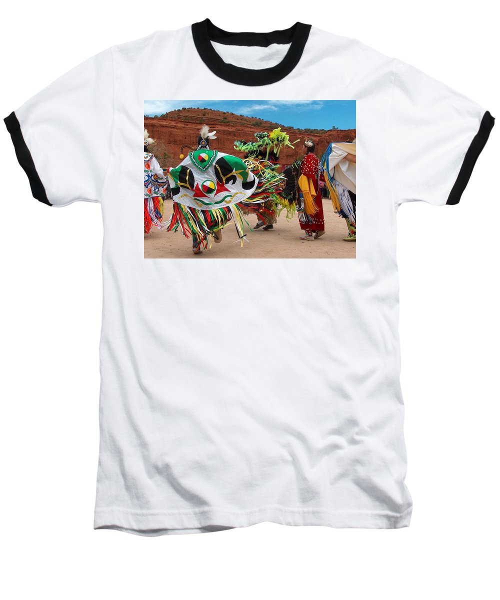 Fancy Shawl Dancer Baseball T-Shirt featuring the photograph Fancy Shawl Dancer At Star Feather Pow-wow by Tim McCarthy