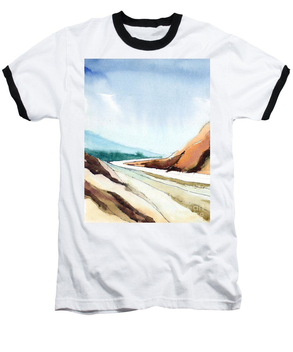 Landscape Baseball T-Shirt featuring the painting Far Away by Anil Nene