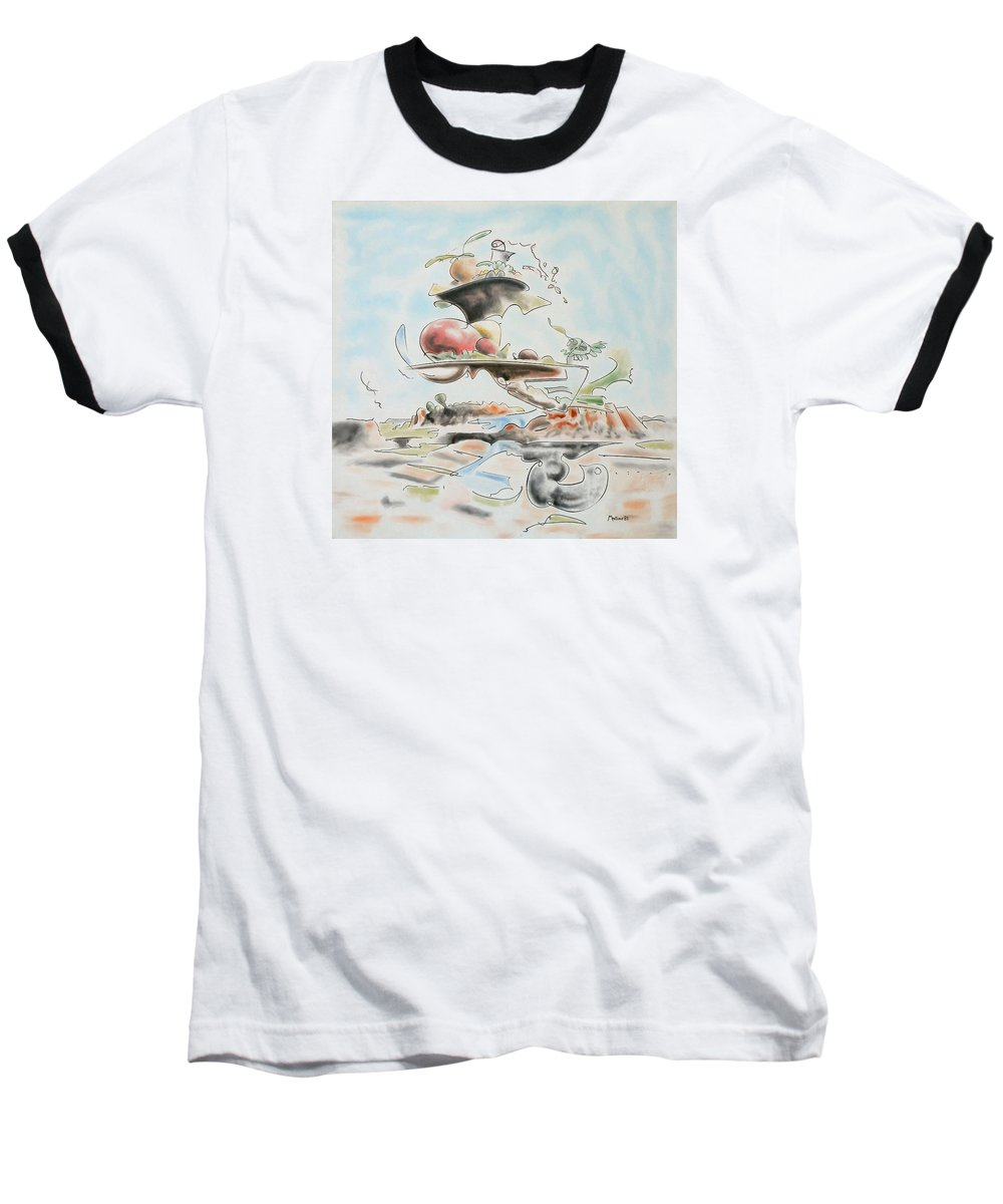 Abstract Baseball T-Shirt featuring the painting Fast Food by Dave Martsolf