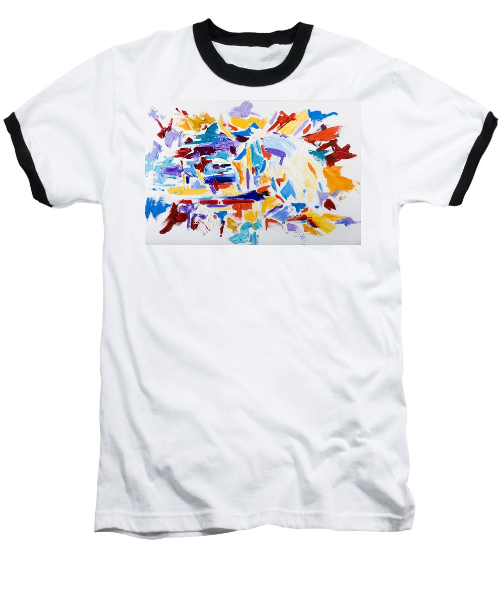 Abstract Yellow Baseball T-Shirt featuring the painting Fiesta by Shannon Grissom