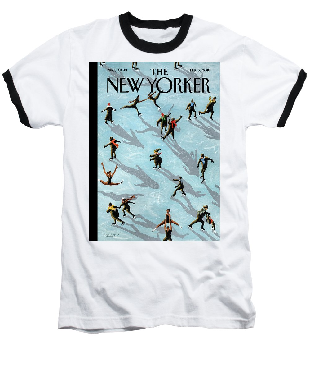 Figured Skaters Baseball T-Shirt featuring the drawing Figured Skaters by Mark Ulriksen