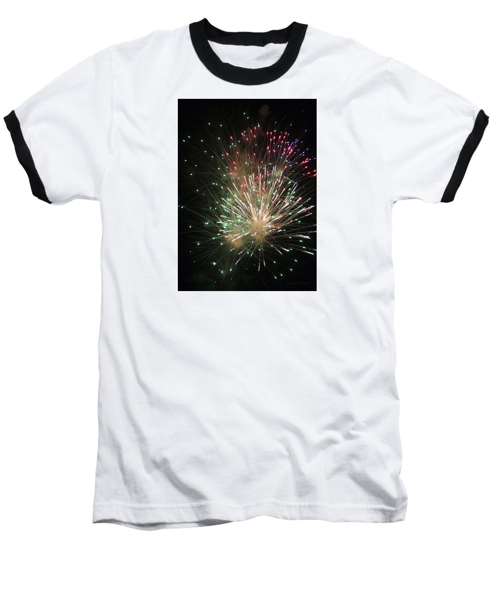 Fireworks Baseball T-Shirt featuring the photograph Fireworks by Margie Wildblood