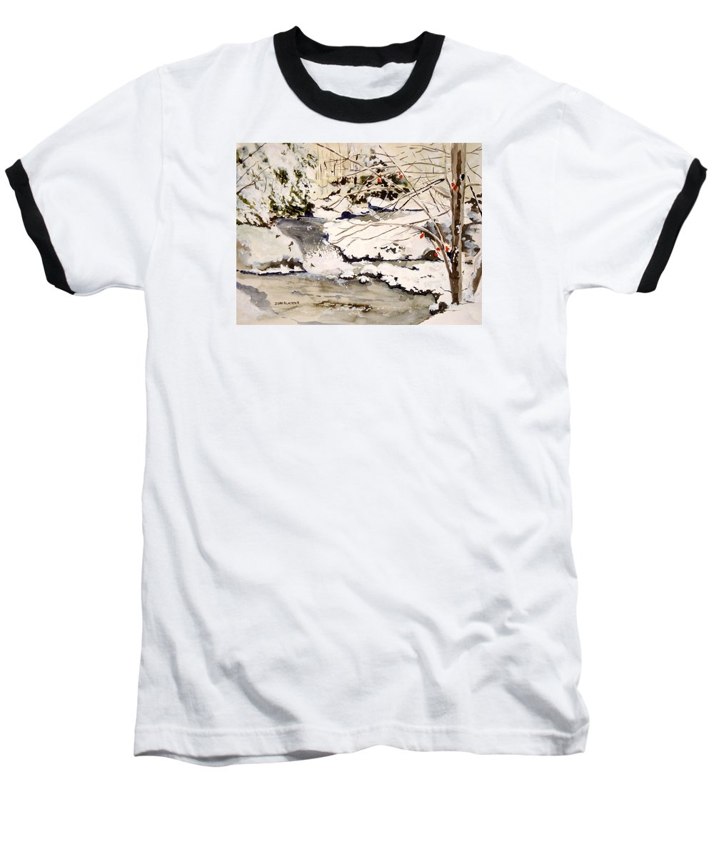 Winter Scene Baseball T-Shirt featuring the painting First Snowfall by Jean Blackmer