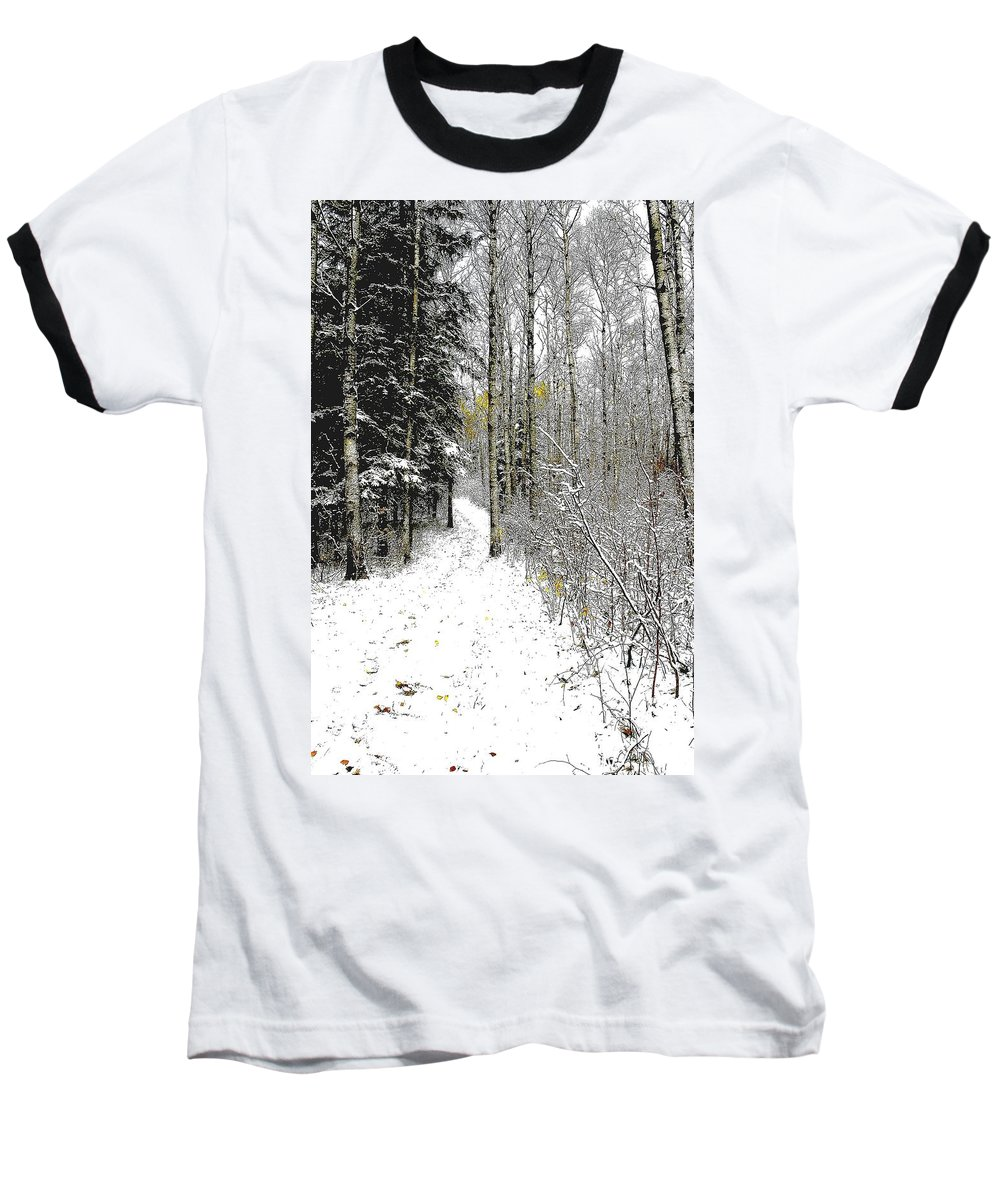 Winter Baseball T-Shirt featuring the photograph First Snowfall by Nelson Strong