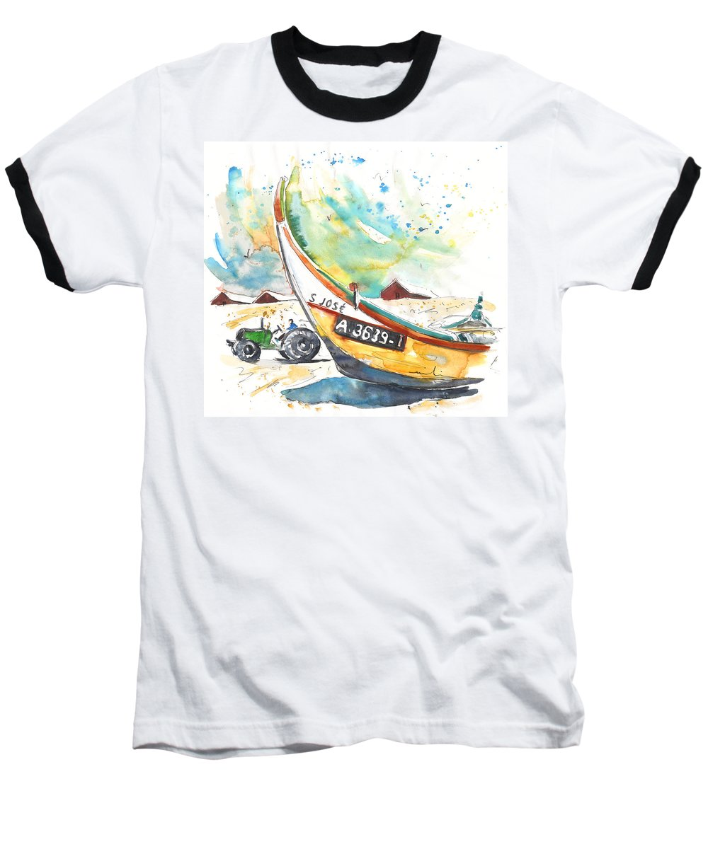 Portugal Baseball T-Shirt featuring the painting Fisherboat In Praia De Mira by Miki De Goodaboom