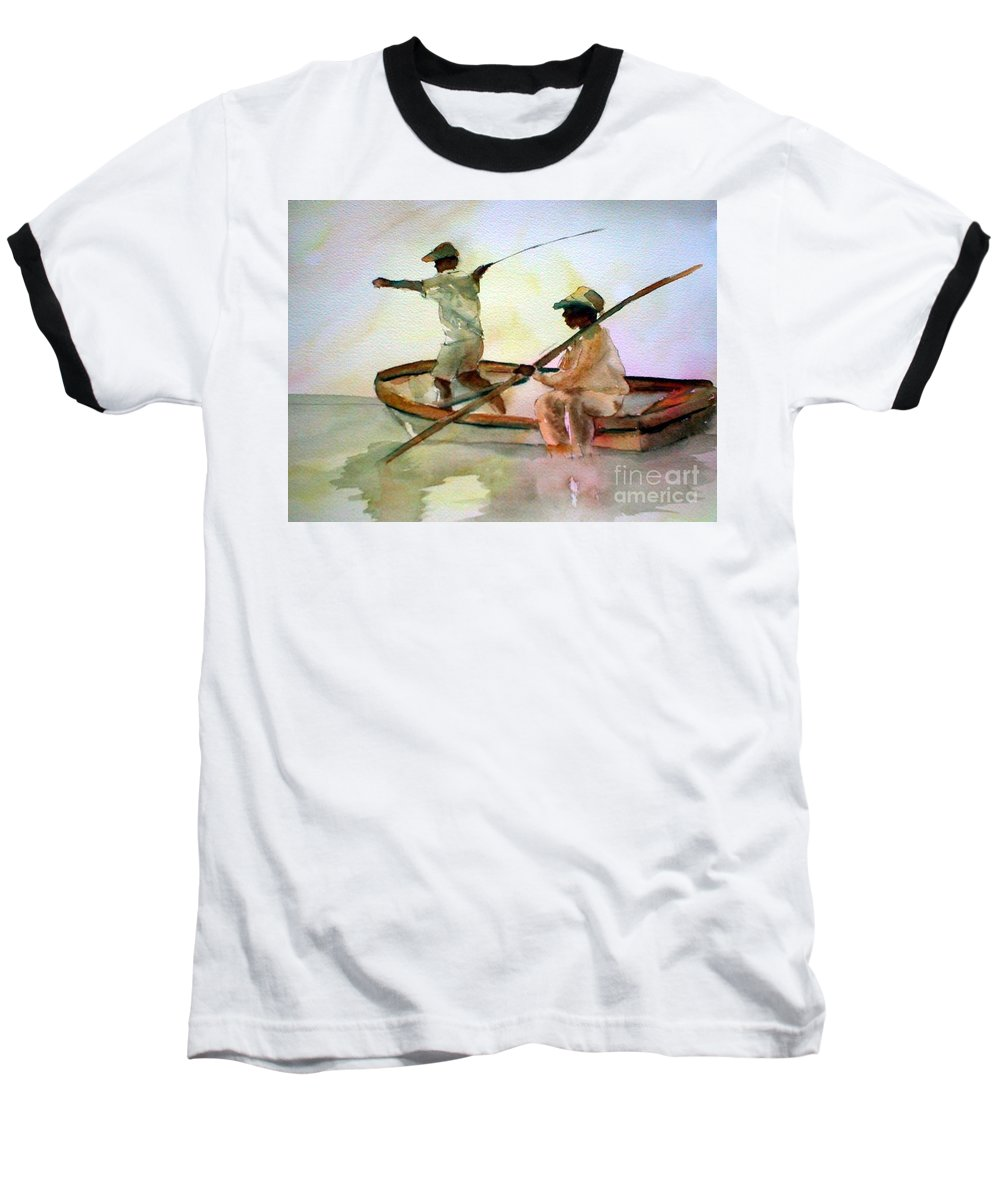 Fishing Baseball T-Shirt featuring the painting Fishing by Rhonda Hancock