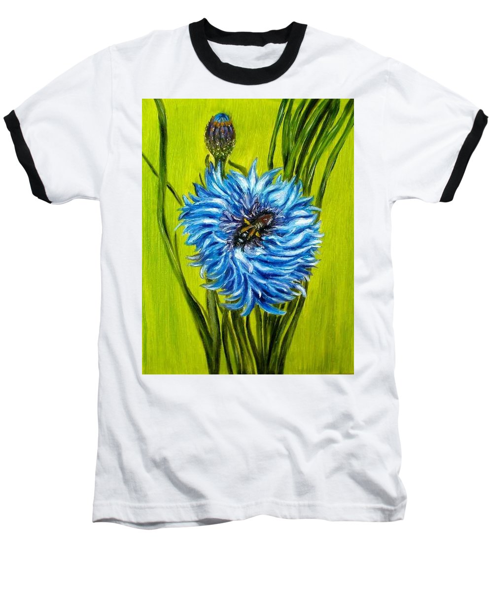 Flower Baseball T-Shirt featuring the painting Flower And Bee Oil Painting by Natalja Picugina
