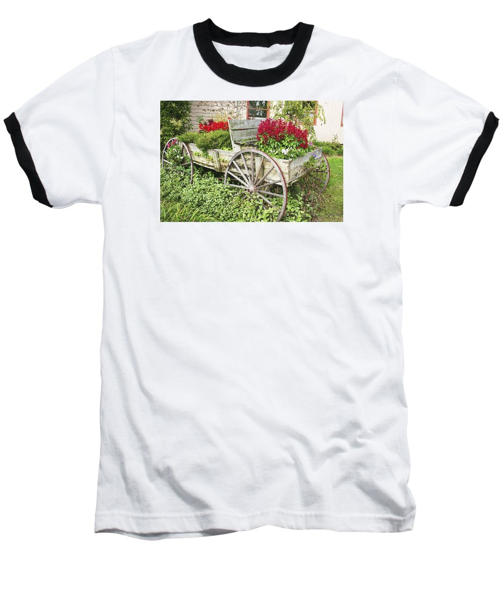 Wagon Baseball T-Shirt featuring the photograph Flower Wagon by Margie Wildblood