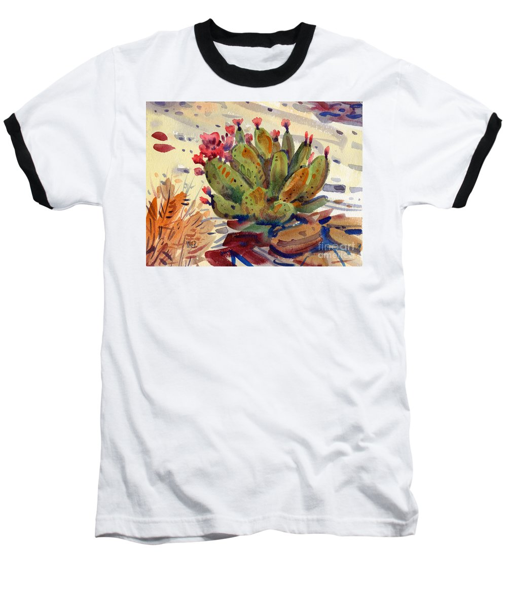 Opuntia Cactus Baseball T-Shirt featuring the painting Flowering Opuntia by Donald Maier