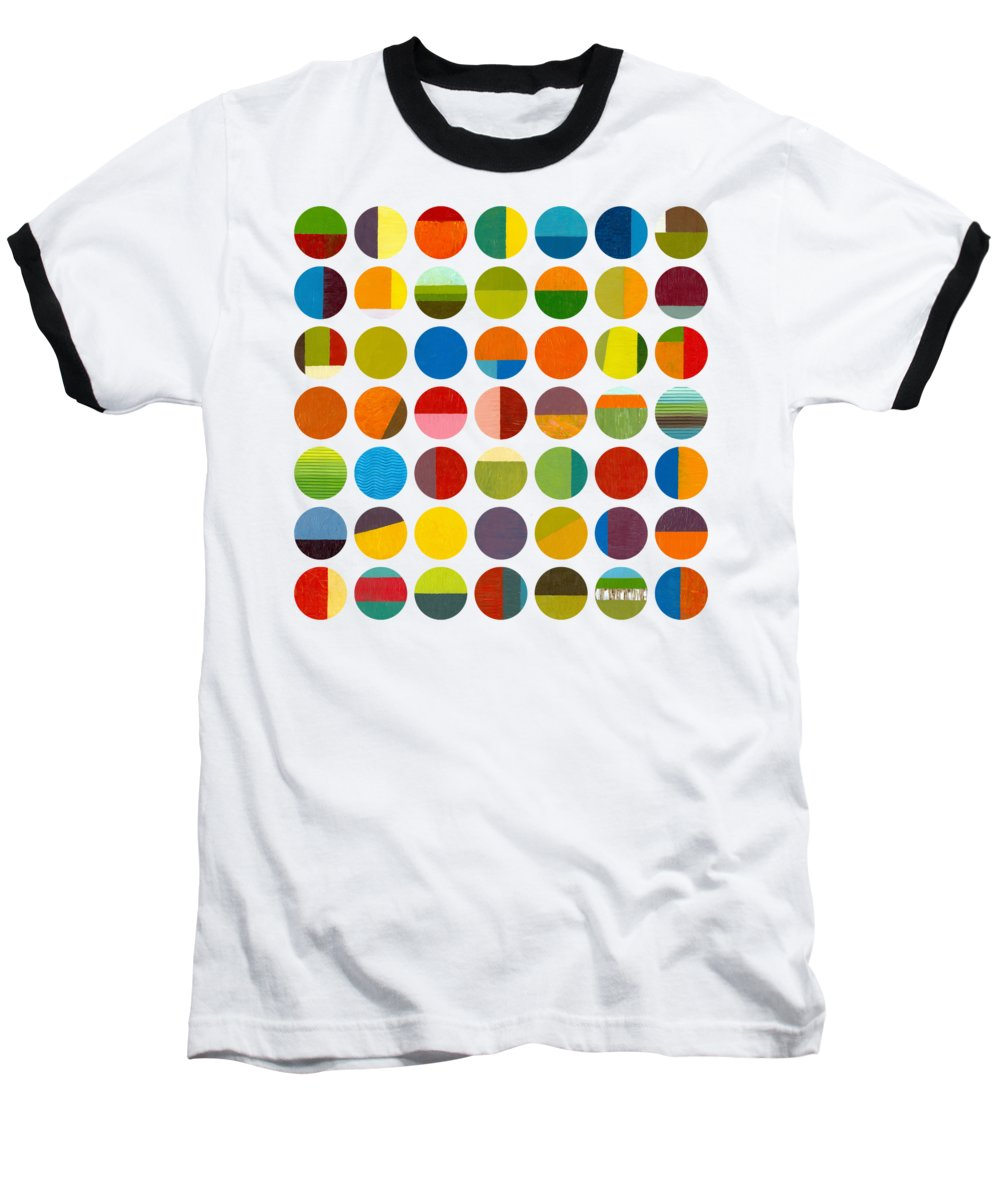 Colorful Baseball T-Shirt featuring the painting Forty Nine Circles by Michelle Calkins
