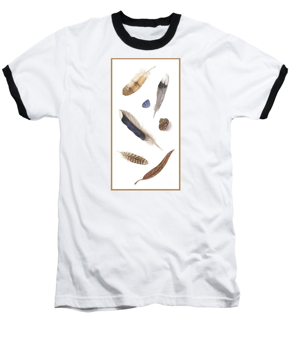 Feathers Baseball T-Shirt featuring the painting Found Treasures by Lucy Arnold
