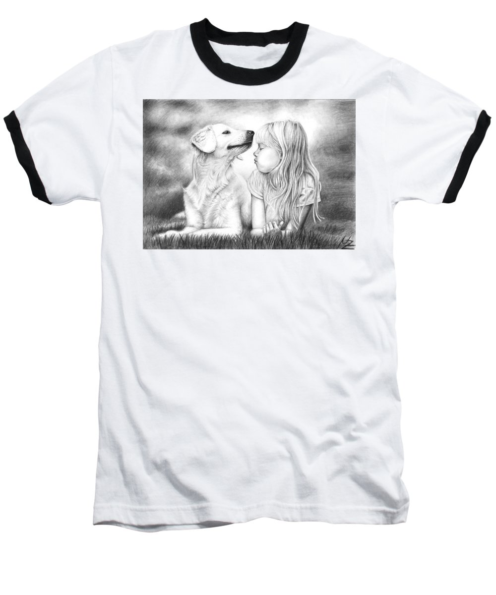 Dog Baseball T-Shirt featuring the drawing Friends by Nicole Zeug