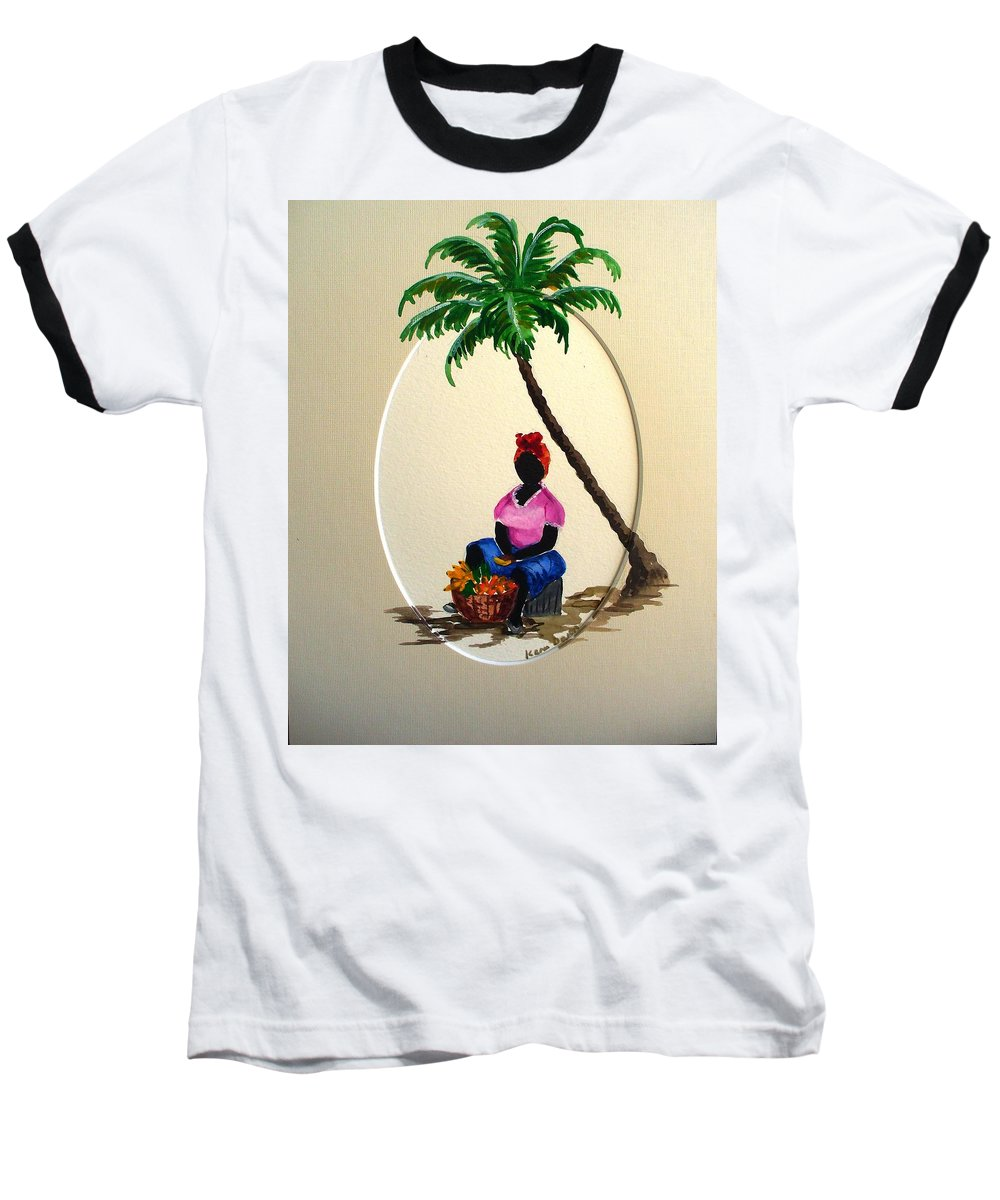 Baseball T-Shirt featuring the painting Fruit Seller by Karin Dawn Kelshall- Best