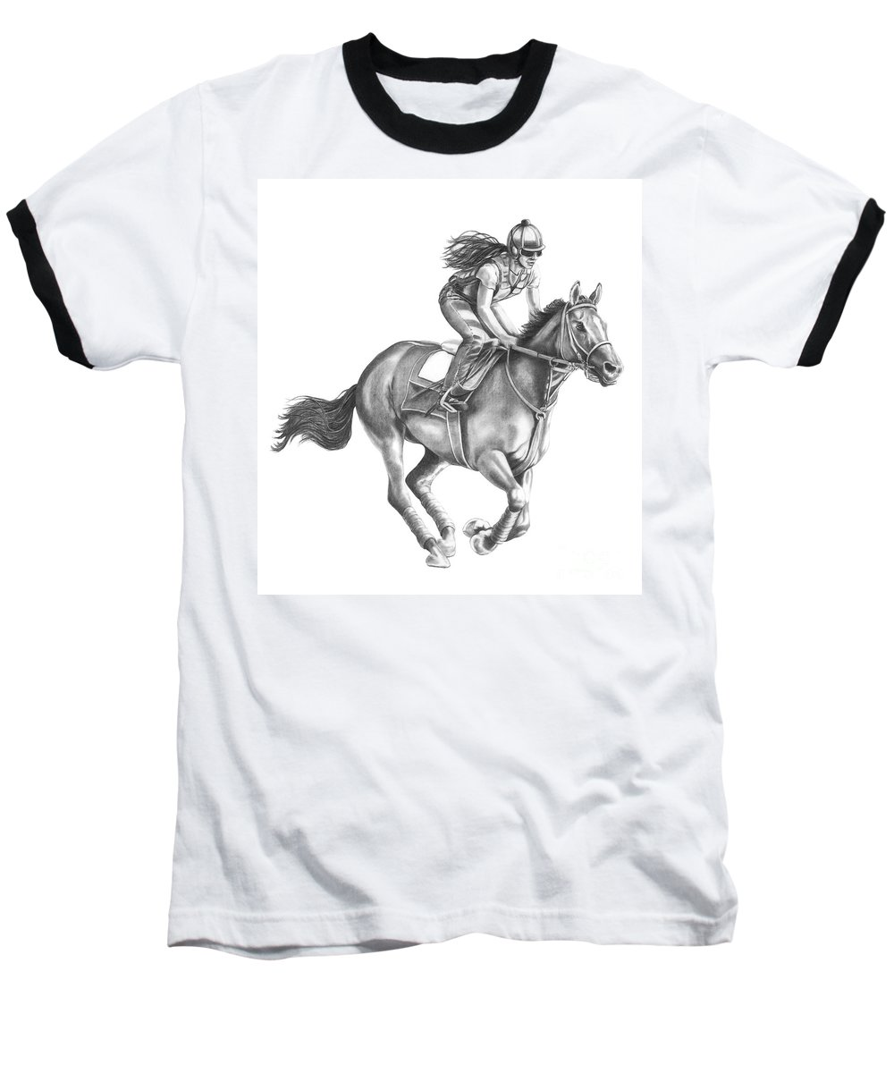 Horse Baseball T-Shirt featuring the drawing Full Gallop by Murphy Elliott
